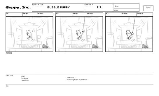 Bubble guppies tv series storyboards